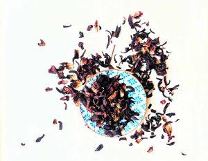 dry hibiscus tea on plate